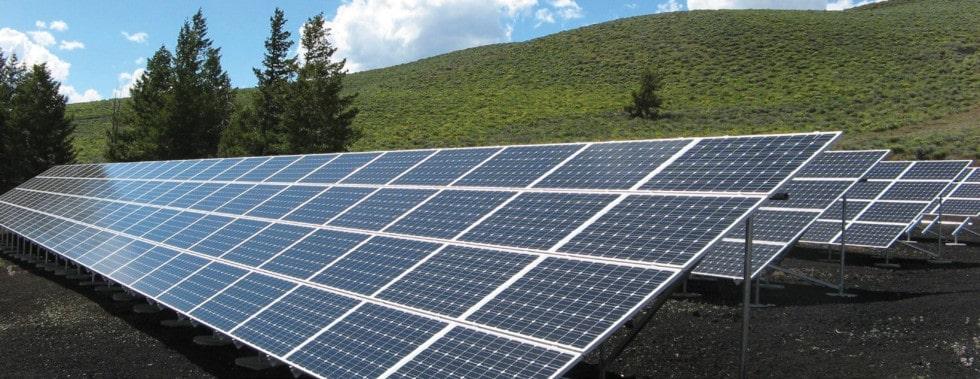solar panels in a field